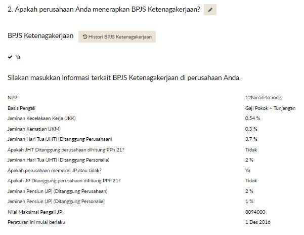 Contoh Pengaturan Iuran BPJS Ketenagakerjaan untuk SIPP BPJS Online | Gadjian