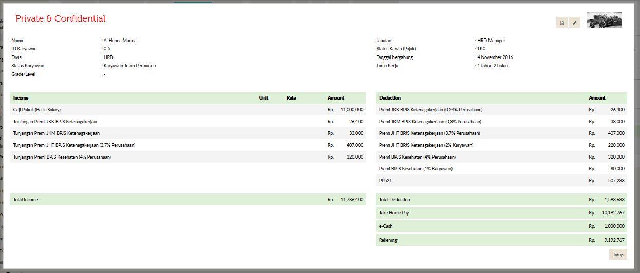 Contoh Slip Gaji Online Karyawan | Gadjian