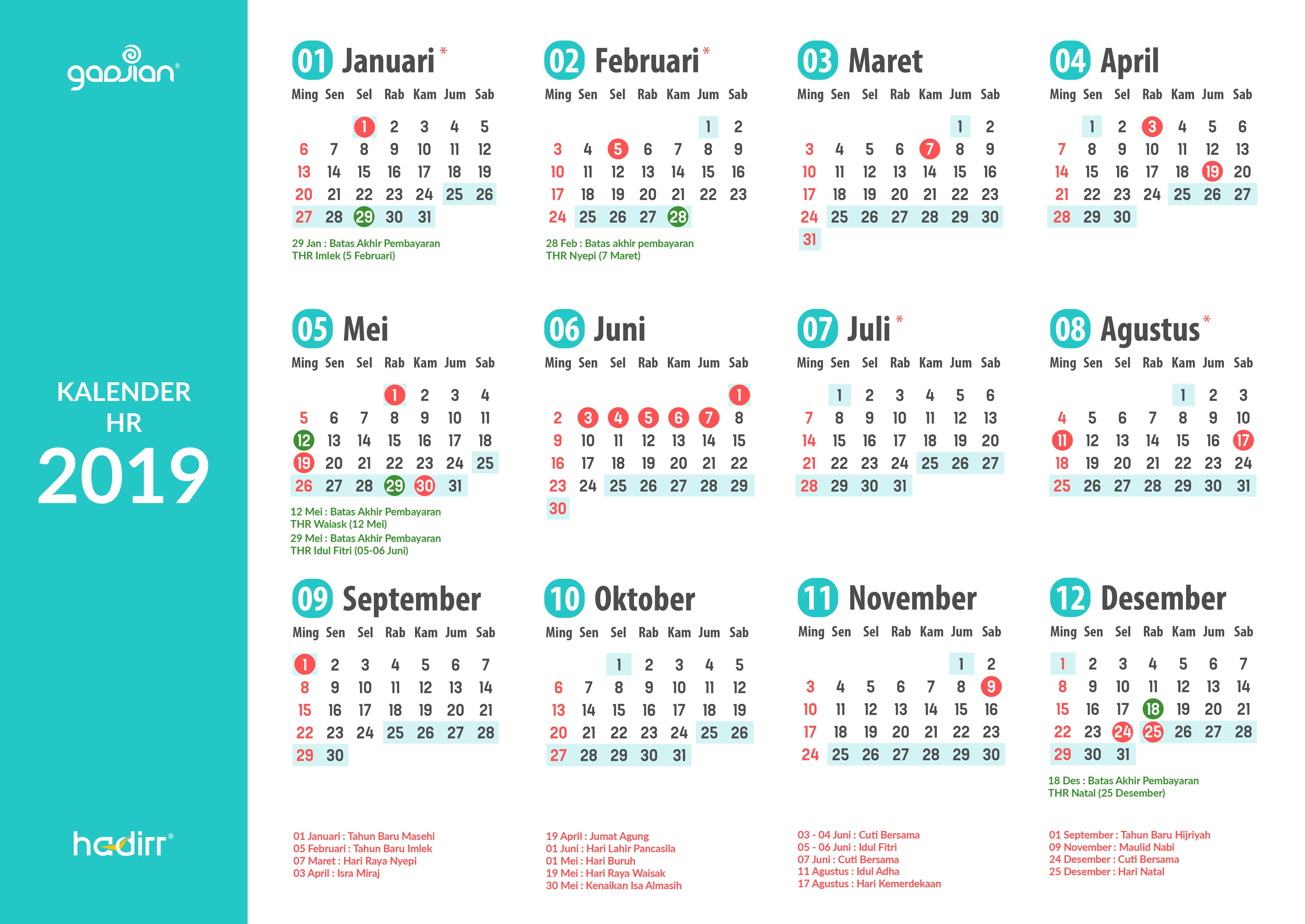 Kalender Hr 2019 Kelola Pekerjaanmu Untuk Setahun Ke Depan