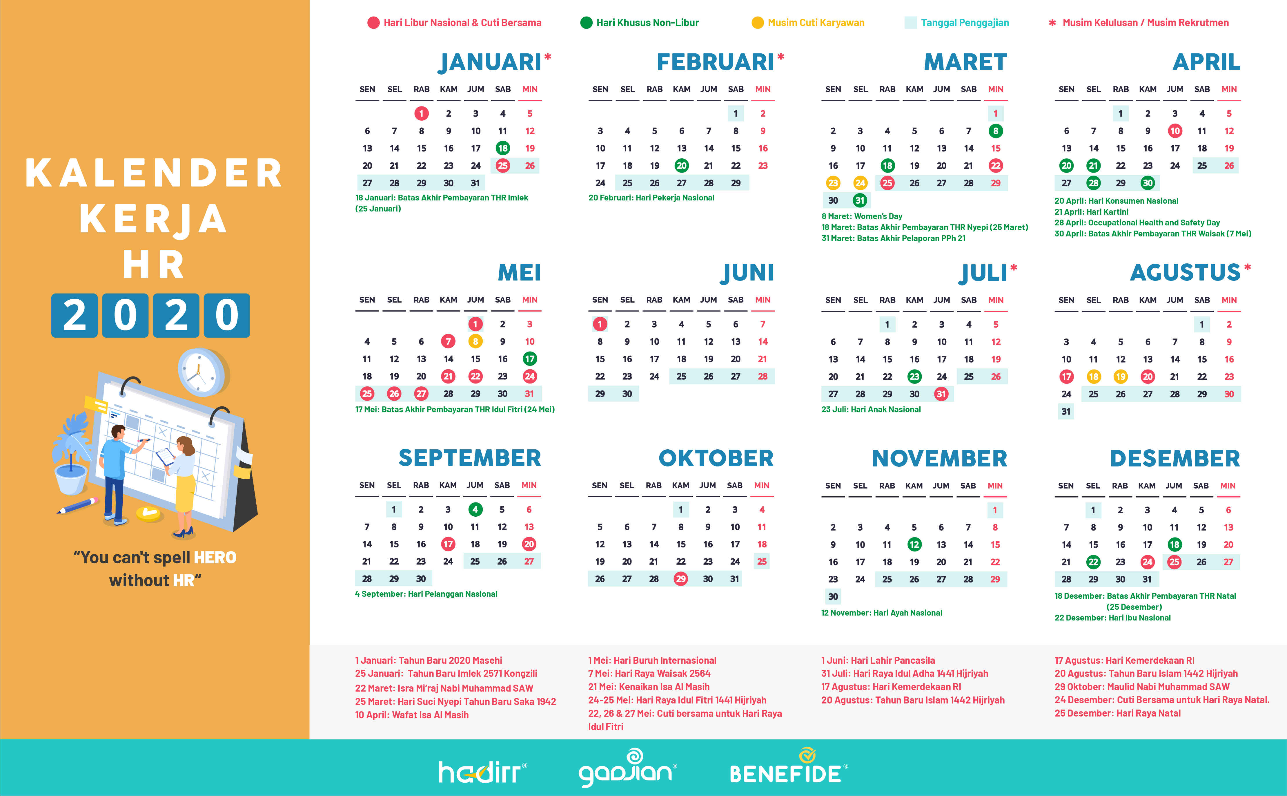Kalender HR 2020 Memudahkan Pekerjaanmu Setahun ke Depan ...