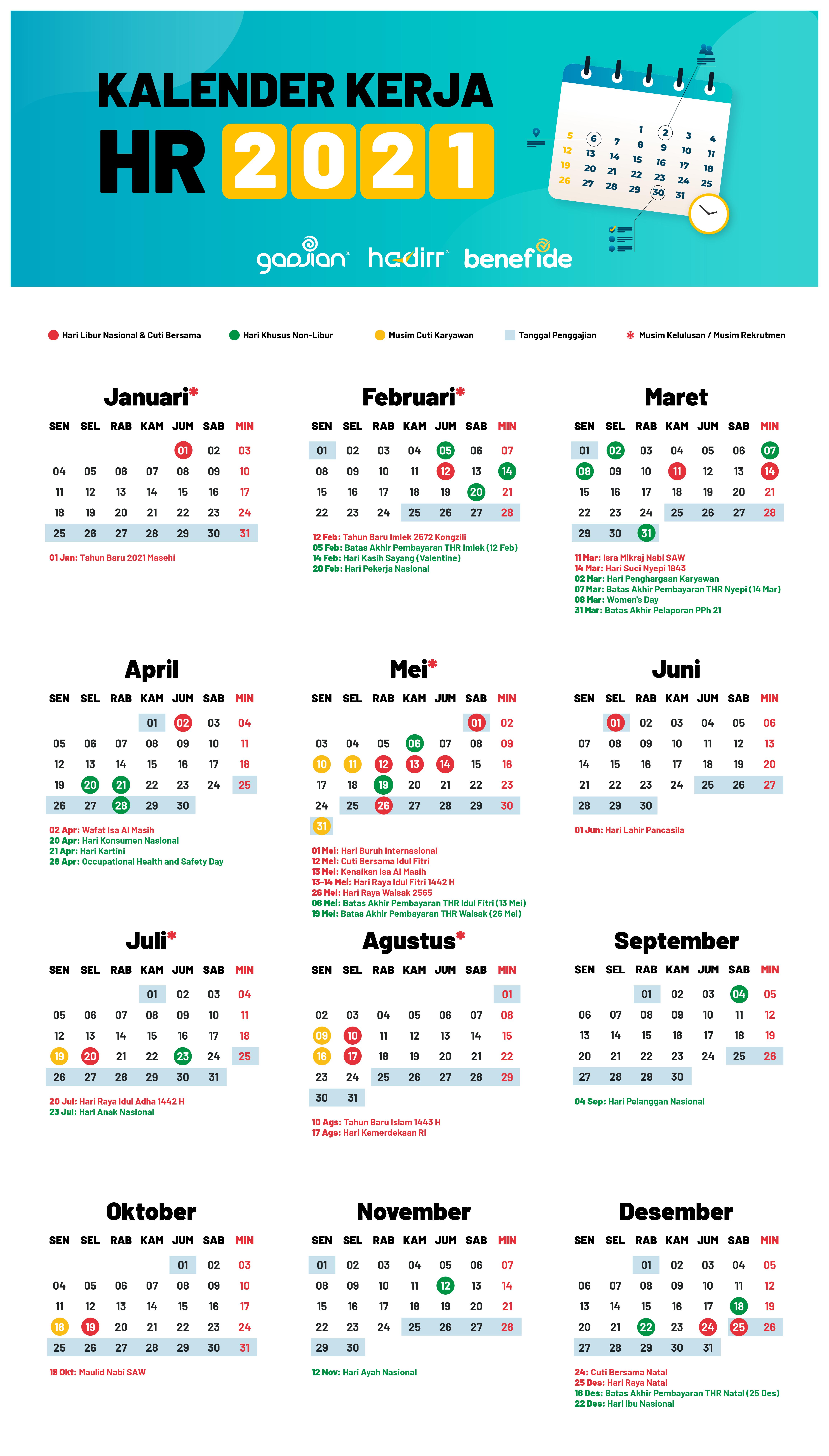 Kalender Hr 2021 Lengkap Dengan Jadwal Libur Dan Cuti Massal Karyawan Update Blog Gadjian